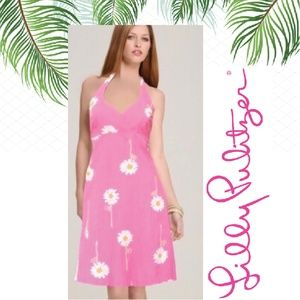 Vintage Lilly Pulitzer pink daisy halter dress sz4